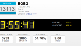 BobG's Time from the Marine Corps Marathon